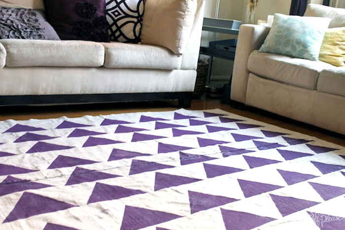 DIY Canvas Rug with painted purple triangles