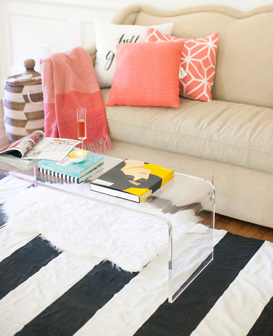 DIY Canvas Rug painted bold stripes