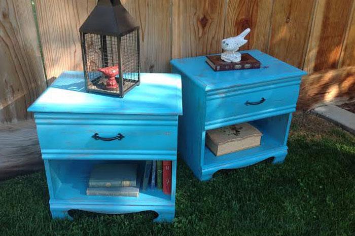 Repurposed Painted Blue Nightstands