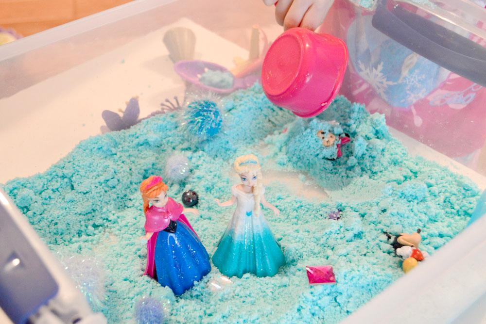 Fun kids activity sensory sugar sand Elsa and Anna