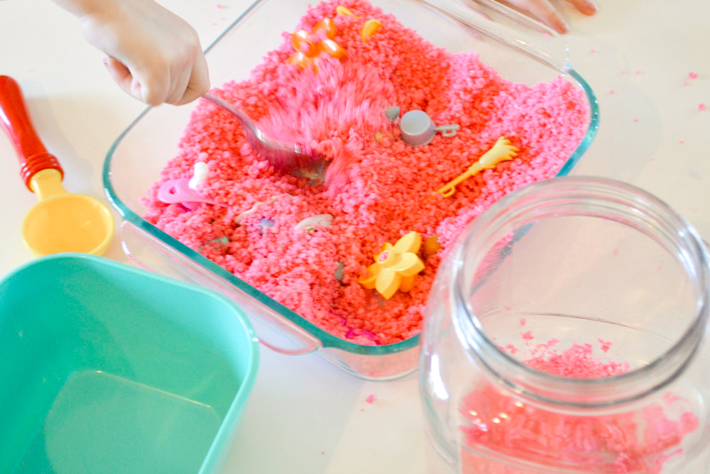 DIY sugar sand creative sensory kids activity