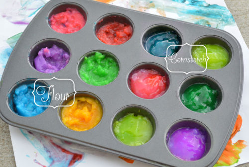 DIY homemade fingerpaint with cornstarch or flour