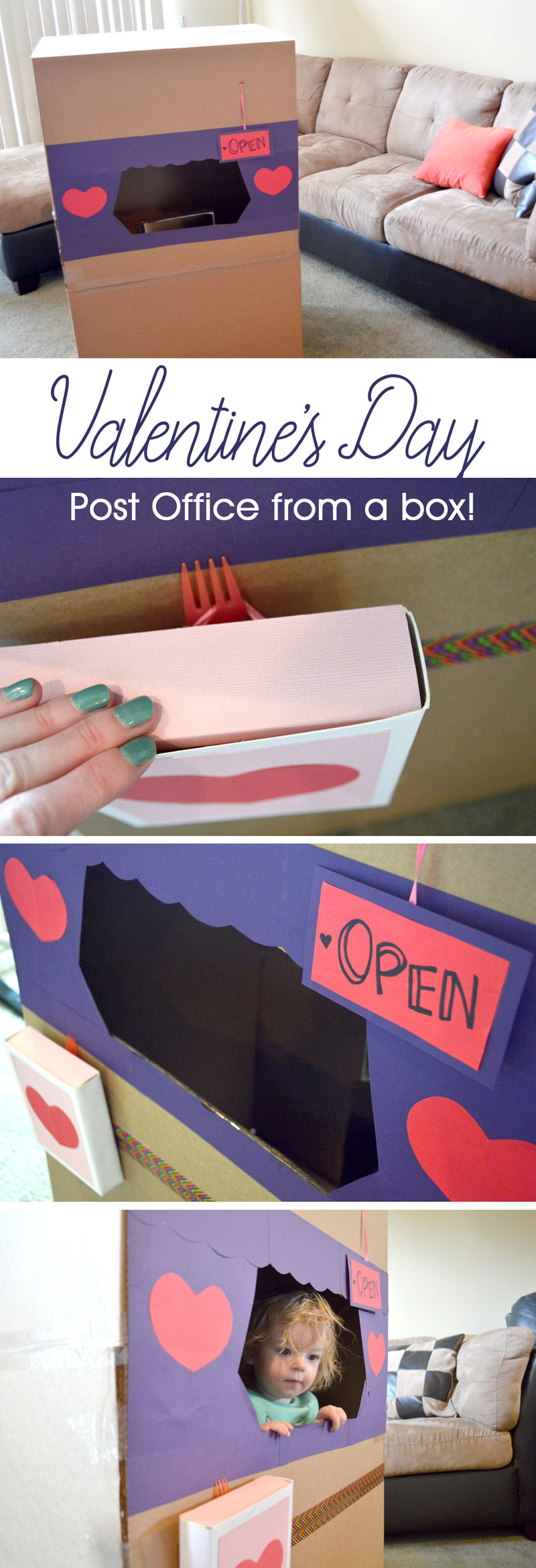 Make a Valentine's Day post office from a recycled box