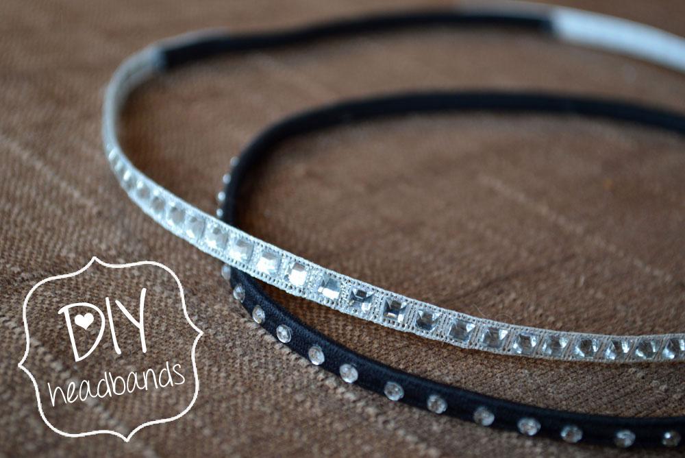 DIY elastic headbands with rhinestones