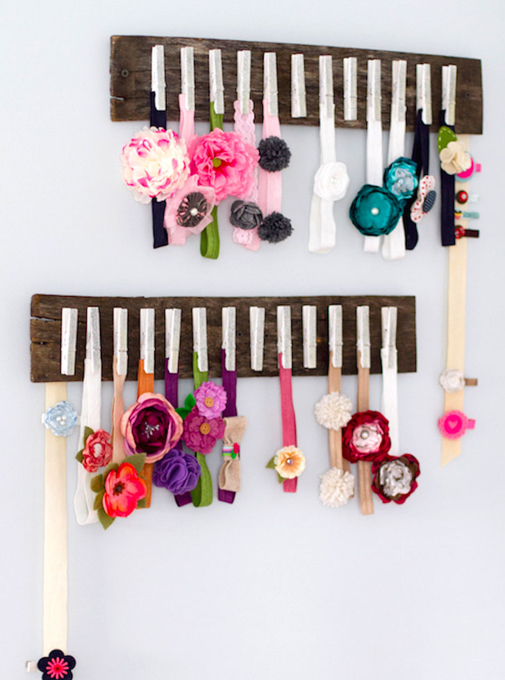 How to organize baby clothes headband storage rack