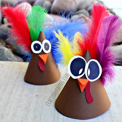 Thanksgiving paper cones kids turkey craft