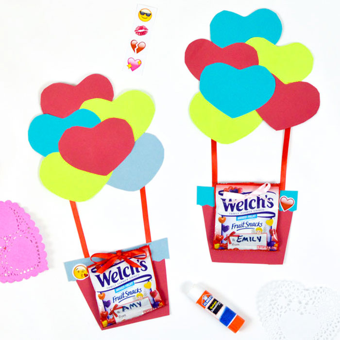 Hot Air Balloon Valentines With Fruit Snacks