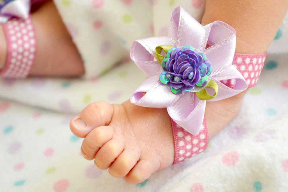 How to make baby flower barefoot sandals