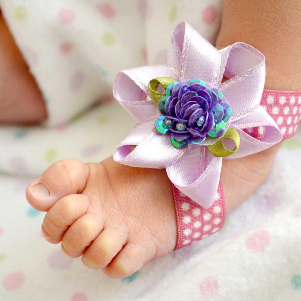 Easy DIY Baby Flower Barefoot Sandals