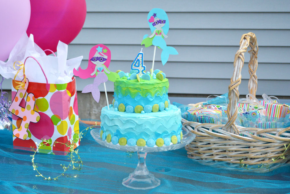 Cute Mermaid Superhero Kids' Birthday cake and kid's birthday party