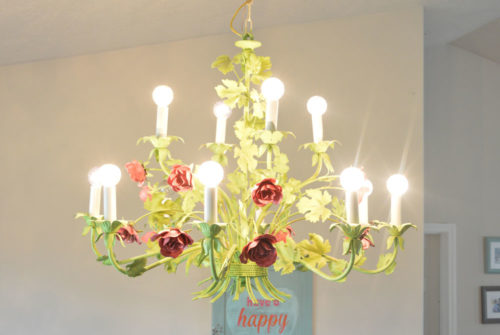 Recycled Spray Painted Rose Chandelier - Mommy Scene