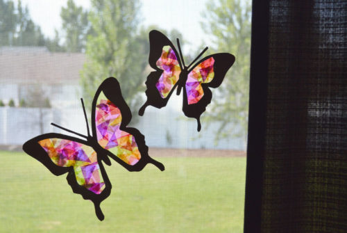 Easy tissue paper butterfly suncatchers - Mommy Scene
