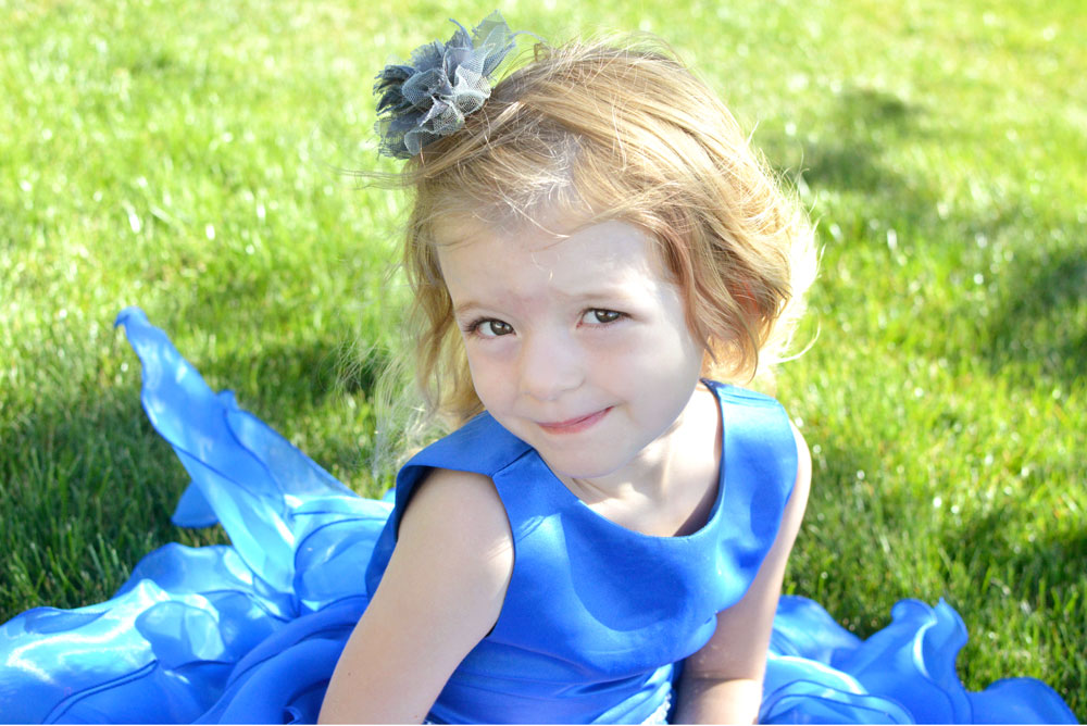 Just Unique Boutique blue flower girl dress with ruffles
