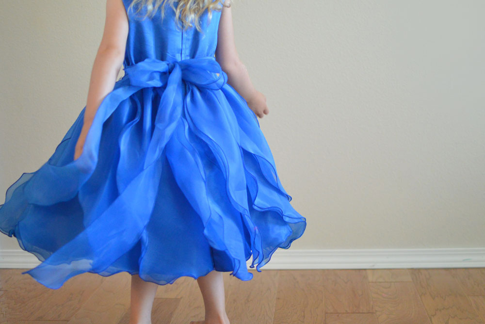 Just Unique Boutique blue princess dress with ruffles for girls