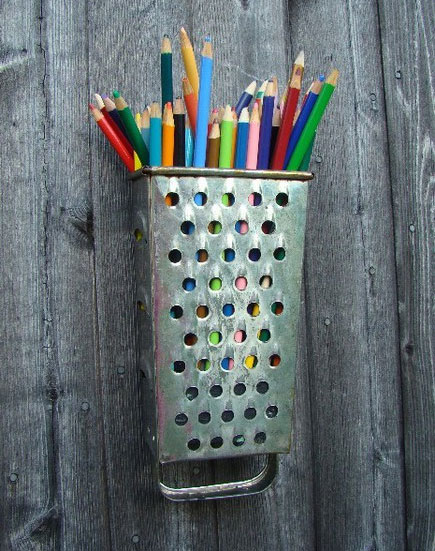 Cheese Grater Pencil Cup DIY