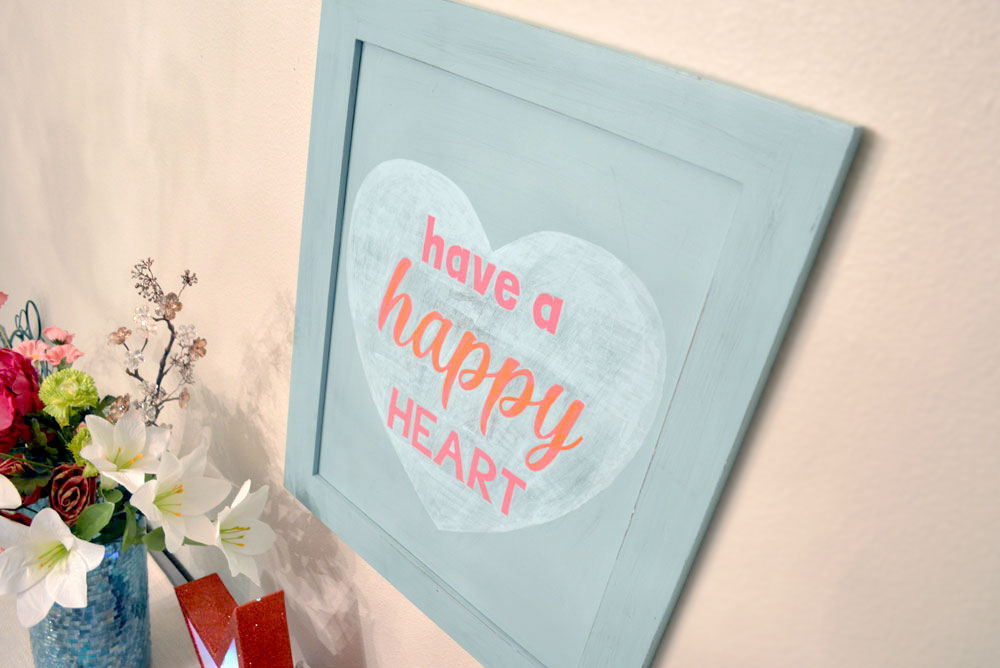 DIY Happy Heart Wood Wall Art & Custom Stencils