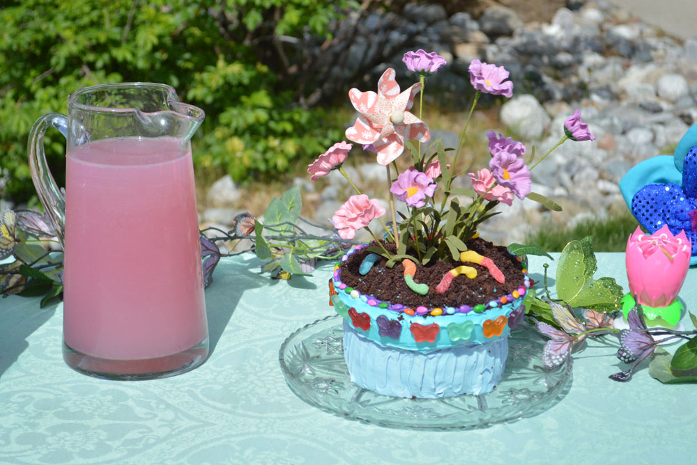 Potted plant birthday party cake