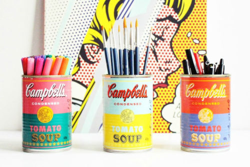 Creative soup can DIY pencil cups