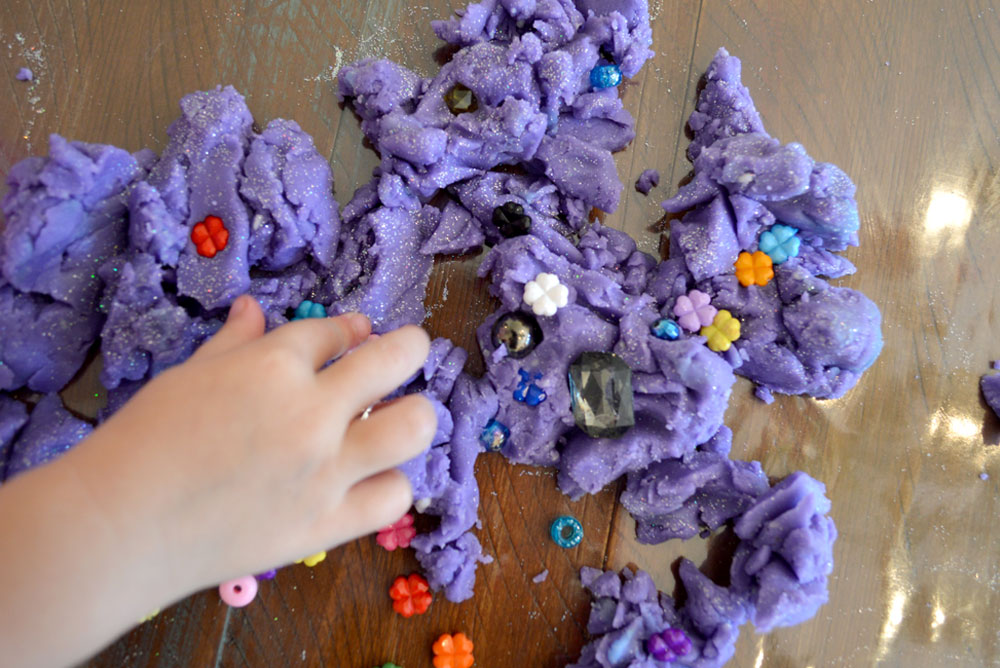 DIY sensory bin with homemade play dough