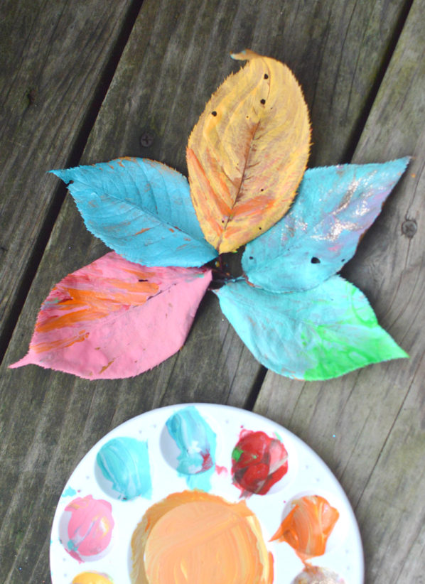 Leaf Painting Fall Activity for Kids