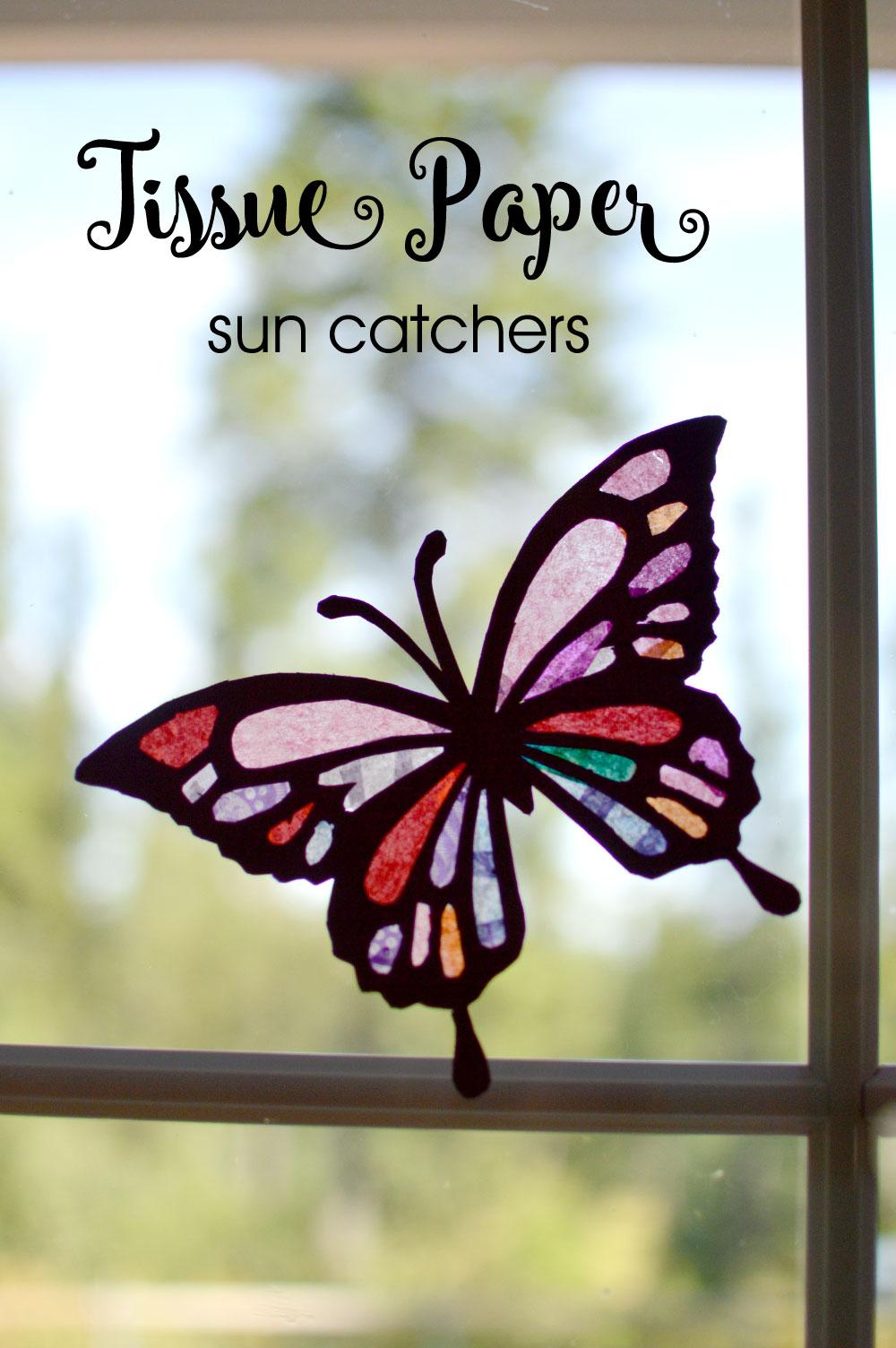 Colorful DIY butterfly sun catchers - Mommy Scene