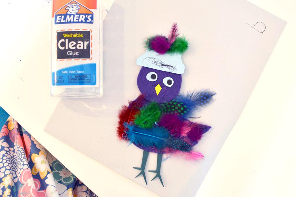 Kids art feather owl project - Mommy Scene