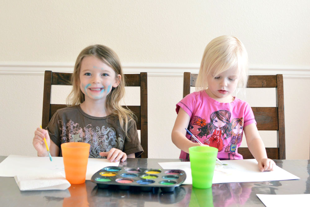 Homemade finger paint is easy to clean up with Molly's Suds laundry detergent