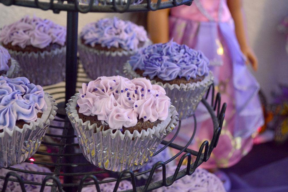 Princess Birthday Party purple cupcakes