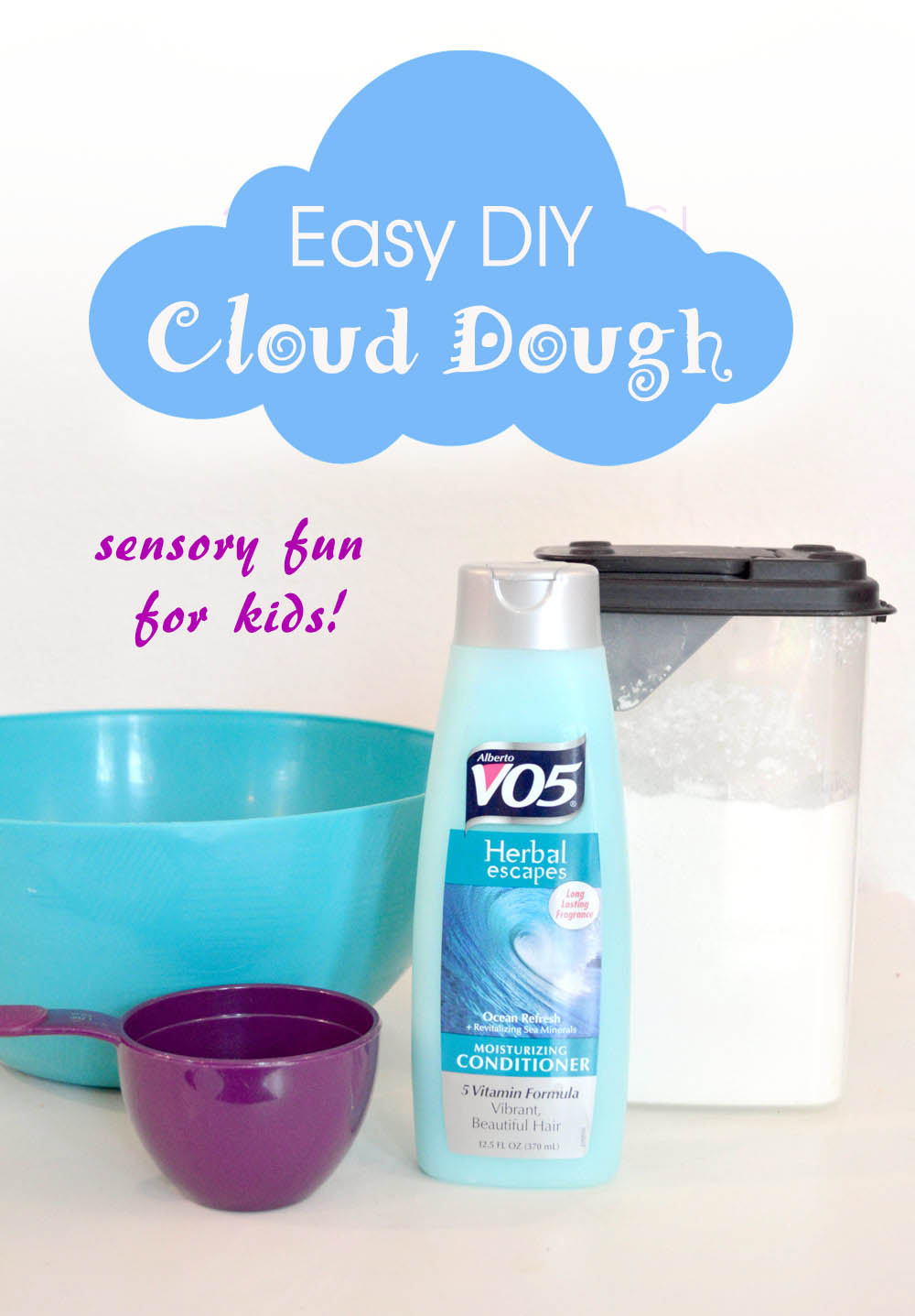 Easy DIY cloud dough creative kids activity