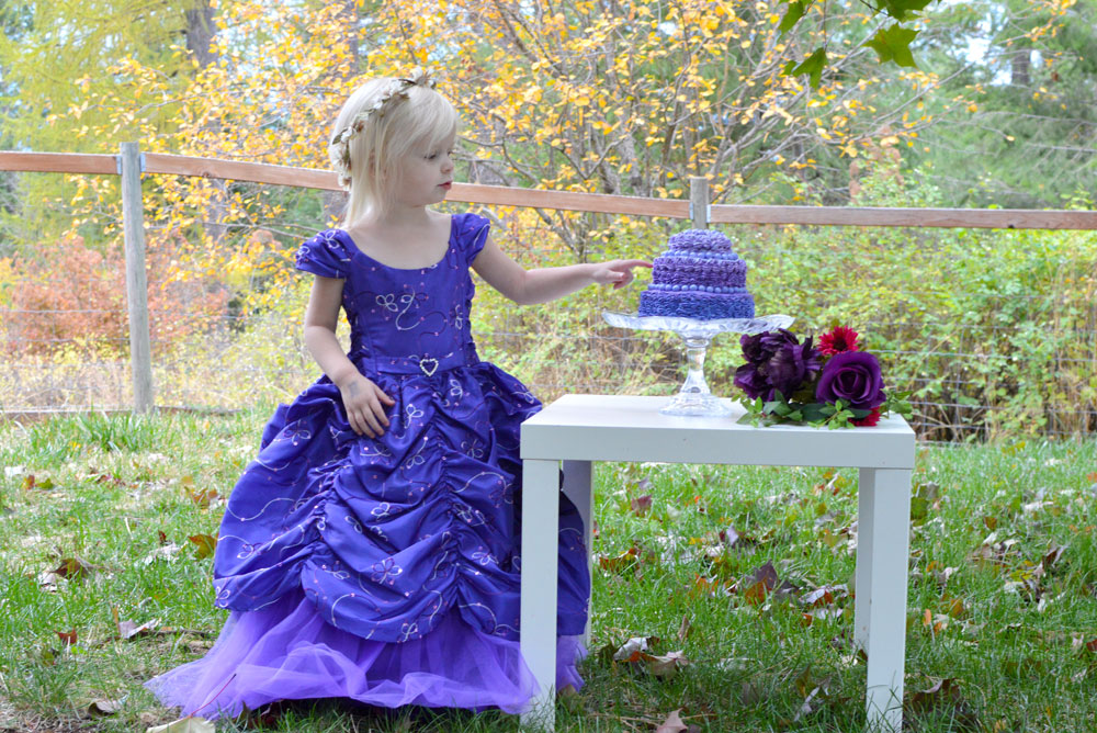 Little girl princess birthday cake and Just Unique Boutique party dress