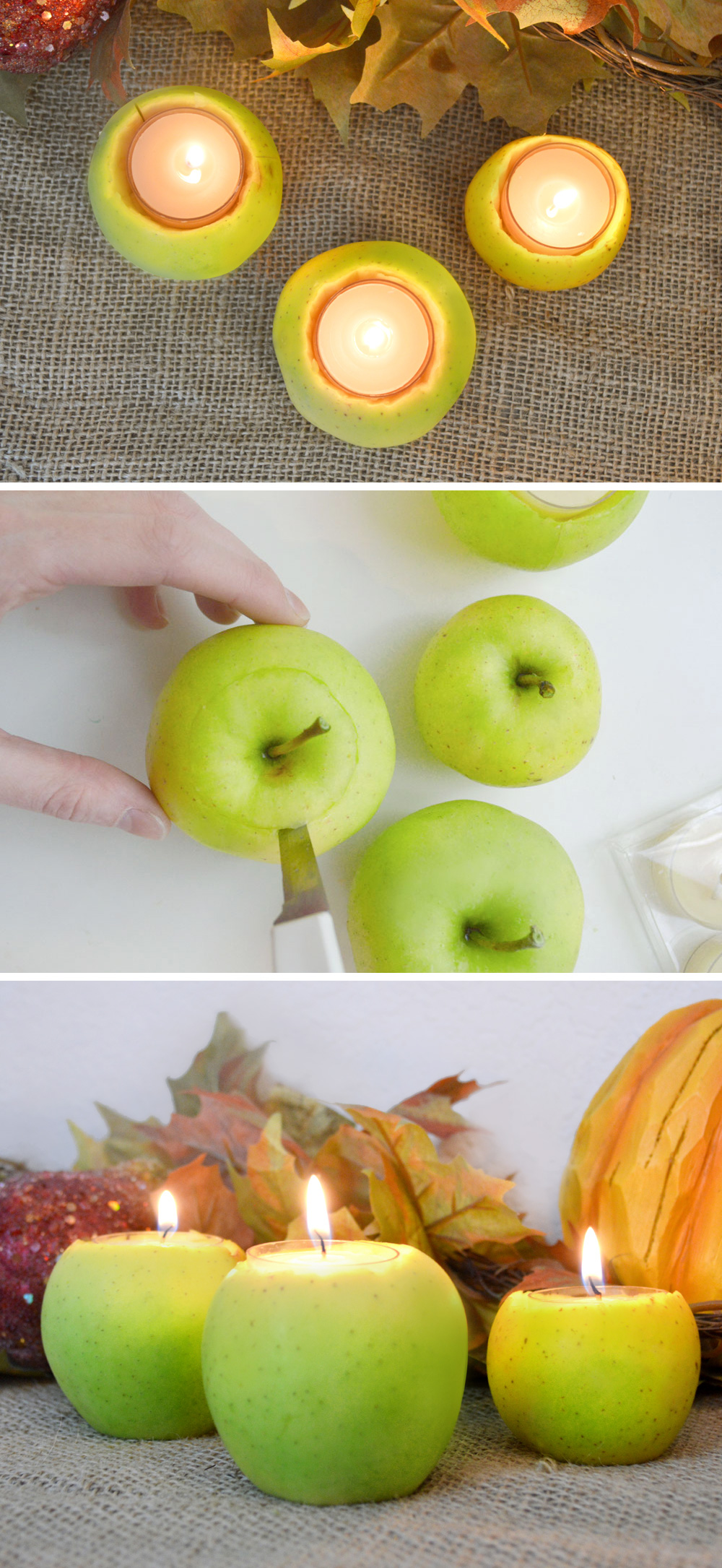 Easy DIY apple candles fall decorating ideas
