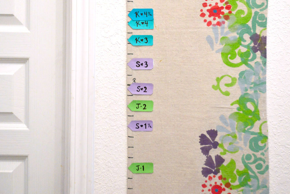DIY kids growth chart with flower design