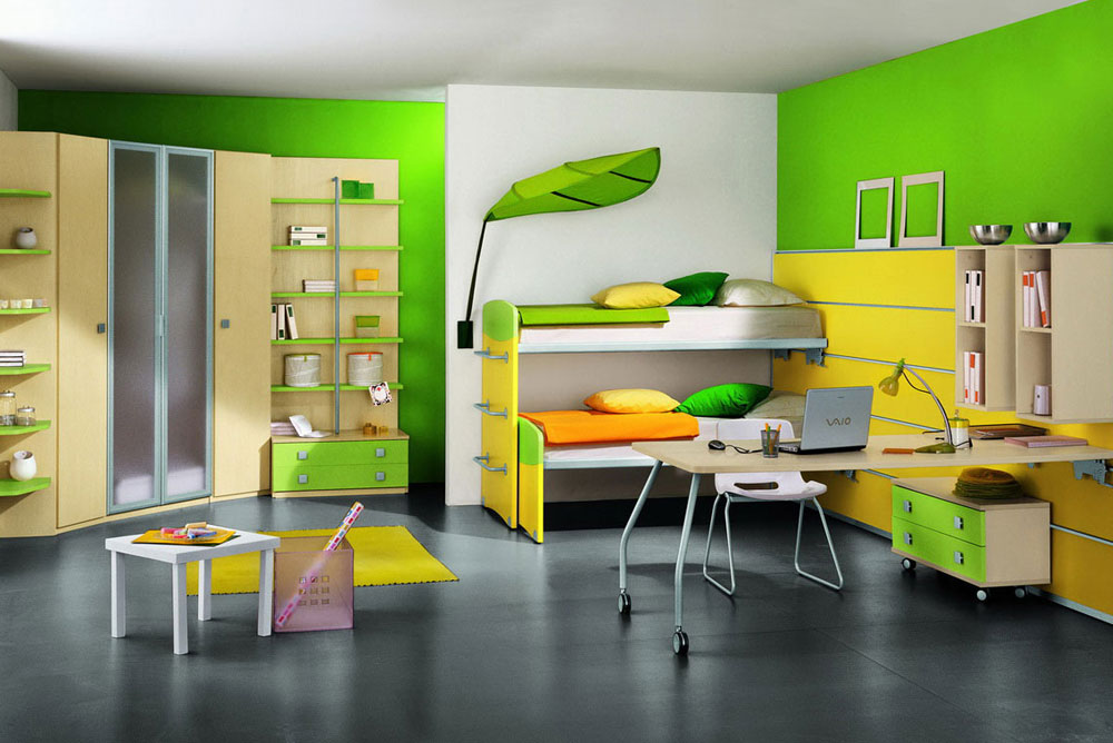 Cute Kids Room add color with bright decorations and accents