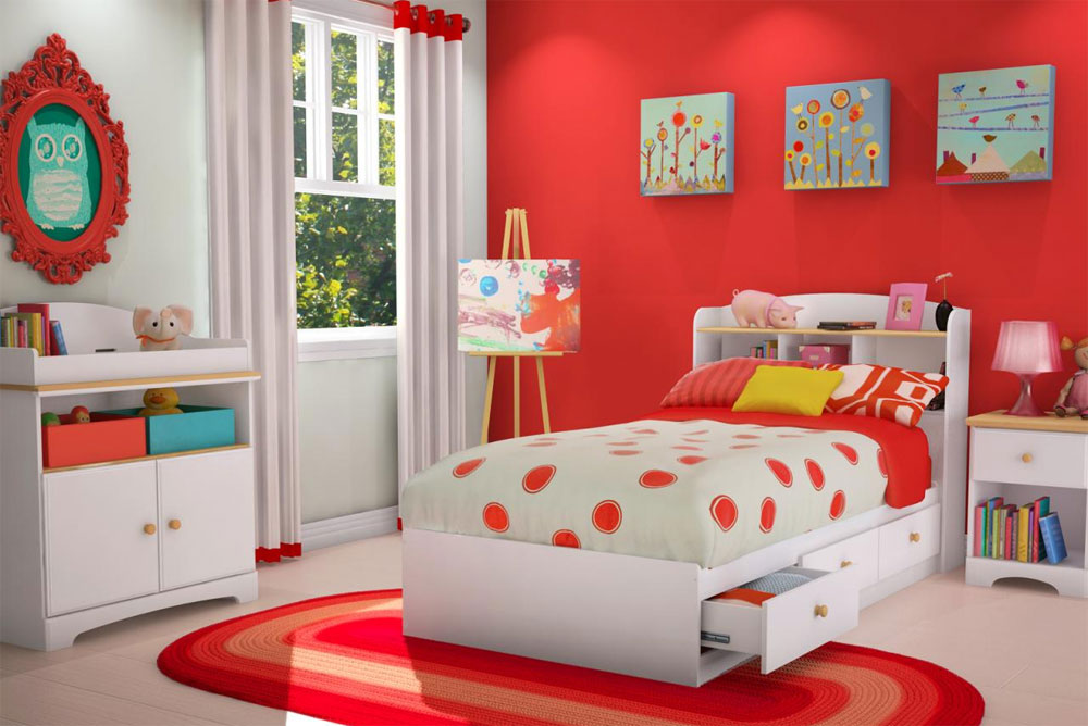 Cute Kids Room bright accent wall