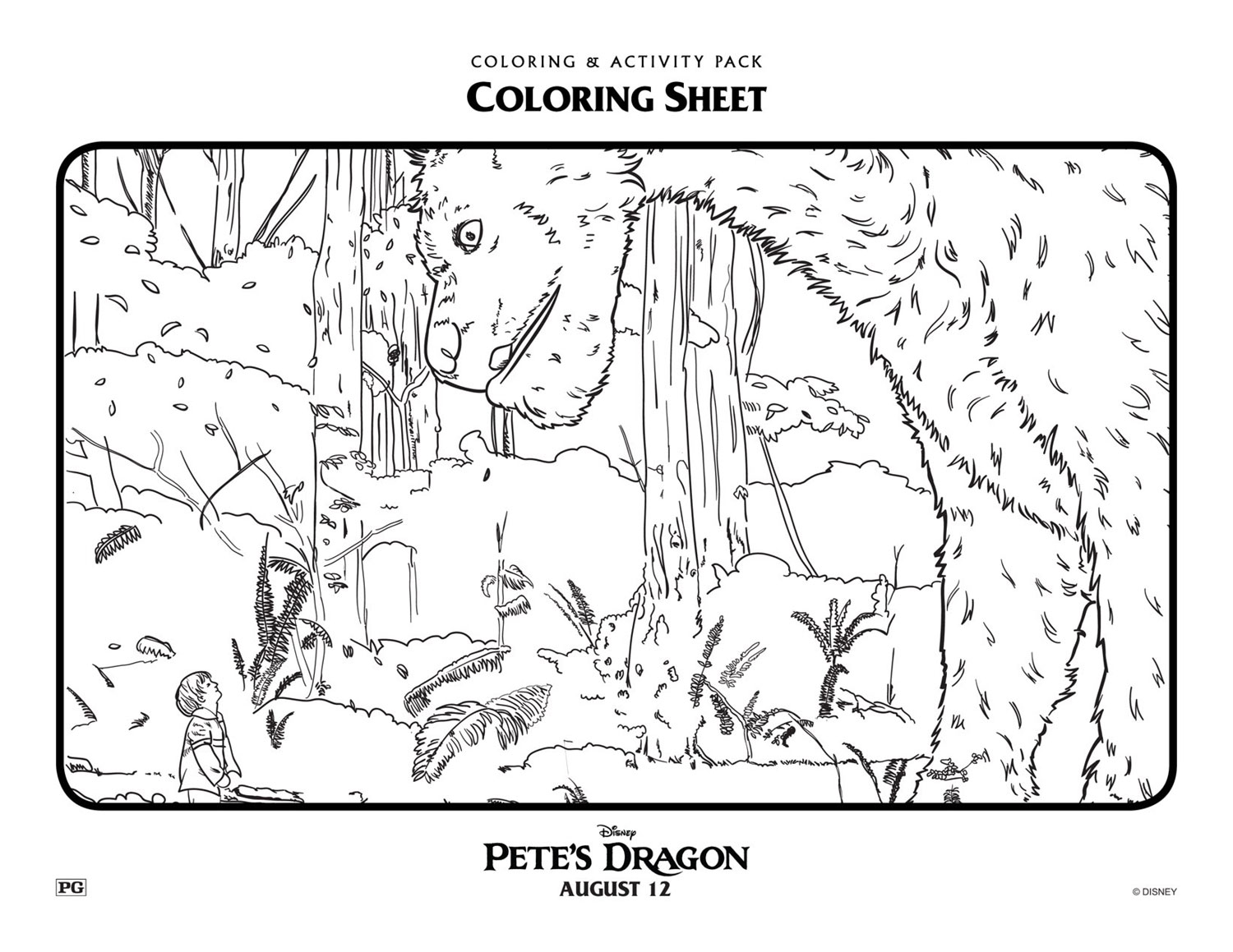 New Disney Pete's Dragon coloring page for kids