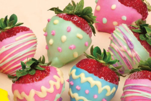Easter treats pastel chocolate dipped strawberries