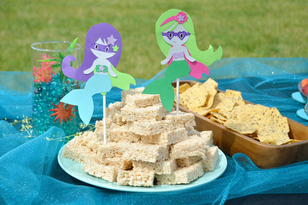 Cute superhero mermaid kids paper craft party idea