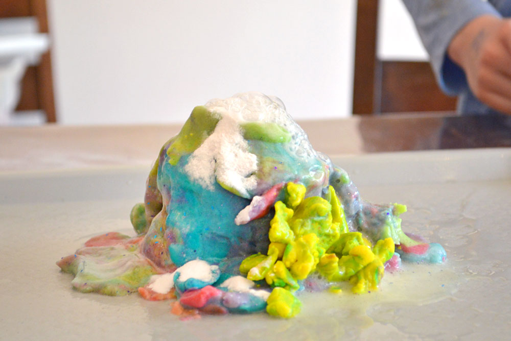 Make a Playdough volcano kids science activity
