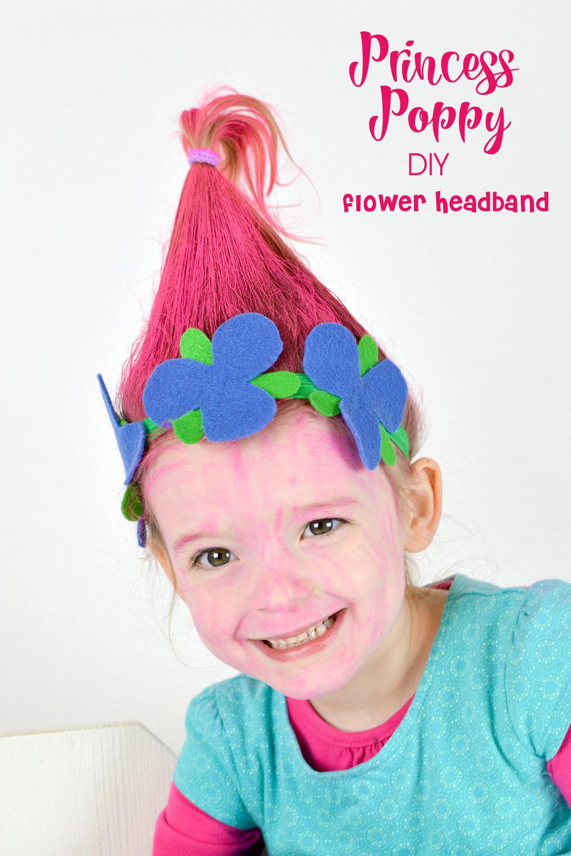 DIY Princess Poppy flower headband craft