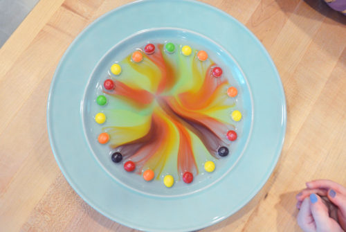 Make radial designs with Skittles kids science experiment