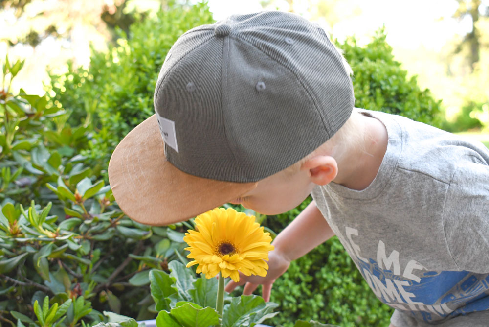 Baby boy with hat smelling flower