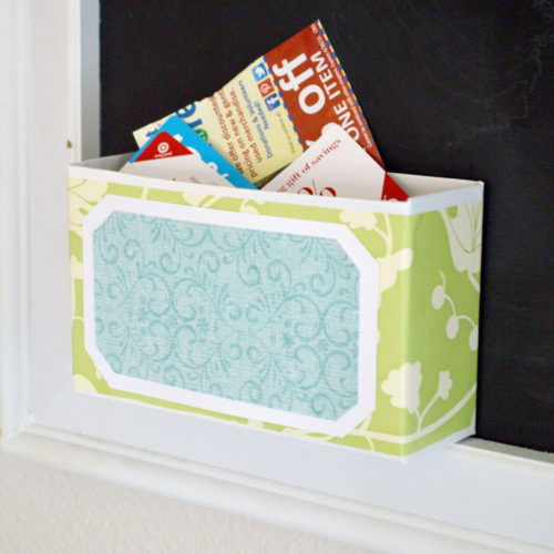 Re-purposed Coupon Box Organizing Idea
