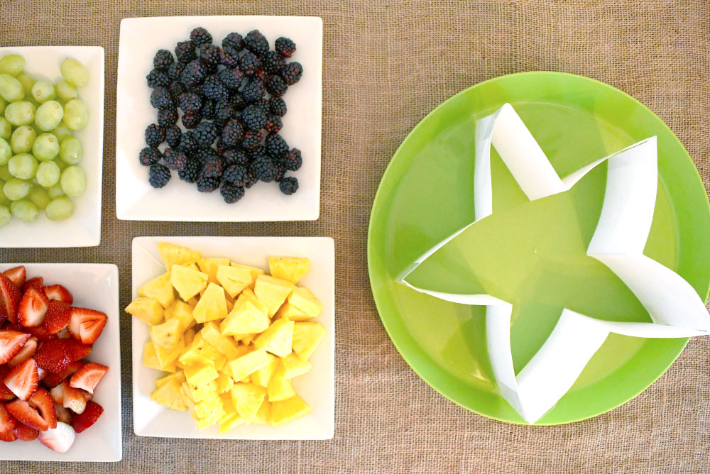 Make a colorful star shaped fruit platter for any party
