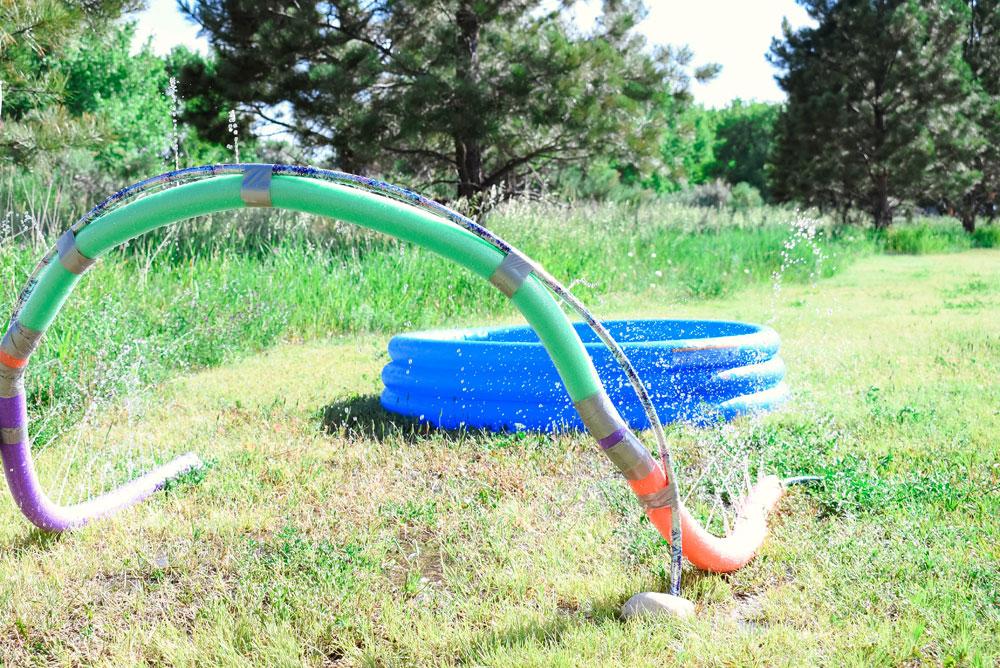Easy DIY Pool Noodle Sprinkler for backyard summer fun