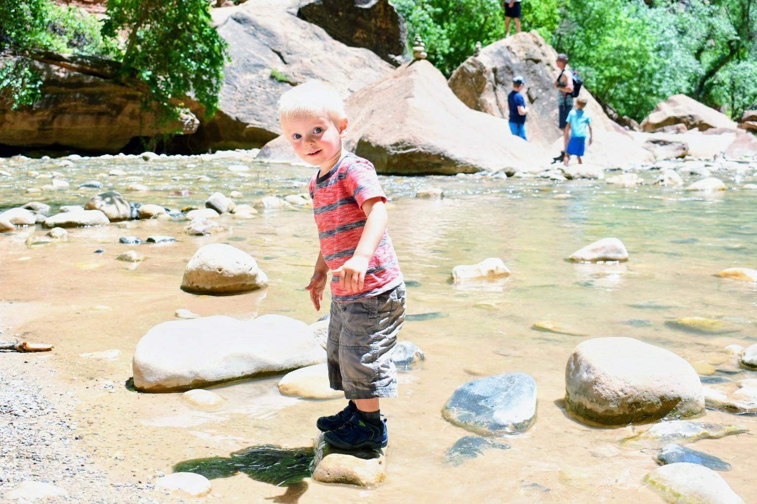 The Zion Canyon hike is easy for families to do with kids