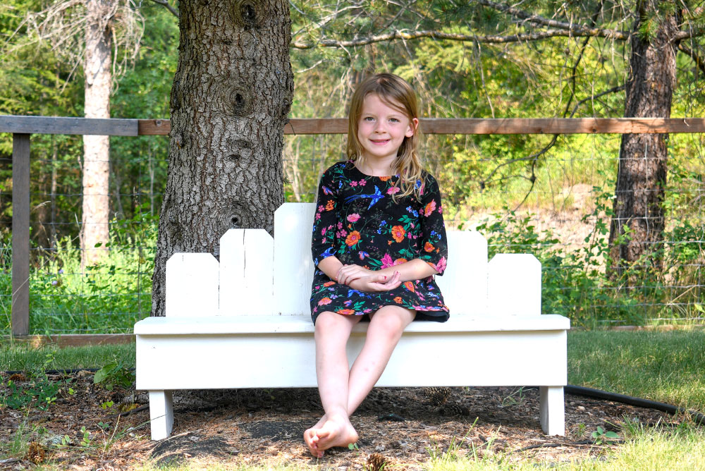 Re-purposed wood fence board bench for photoshoots and yard decor