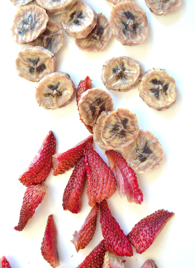 Homemade dried strawberry and banana fruit snacks