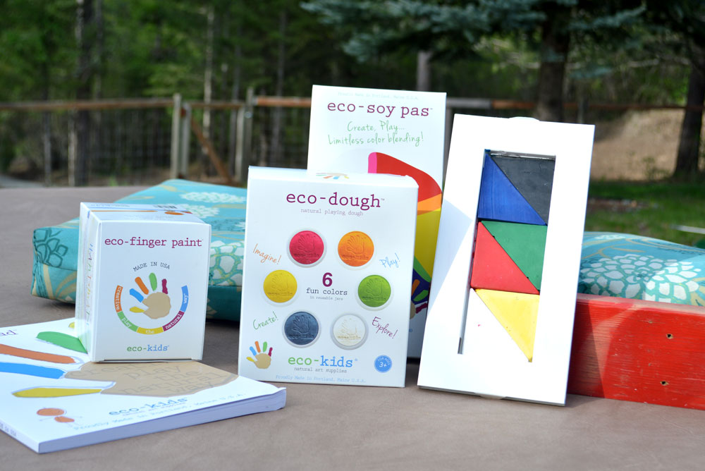 Eco-Friendly art supplies and colorful finger paint