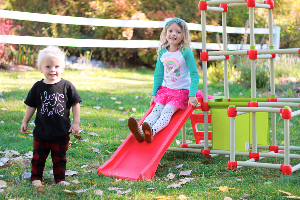 Kids playing outside in fall weather