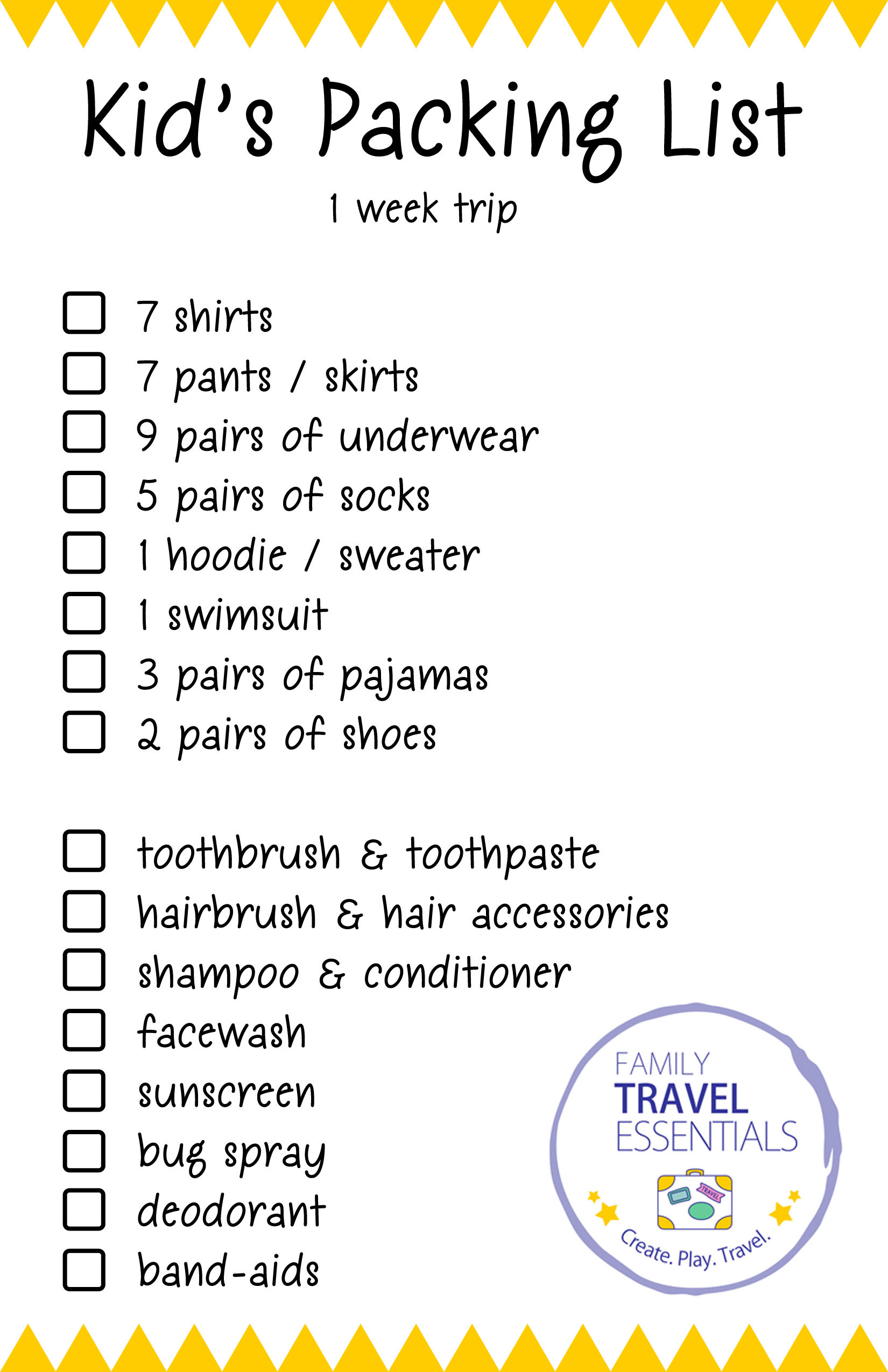 Kids Packing List Halfsheet Printable